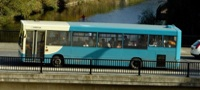 Arriva bus crossing Elvet Bridge in Durham