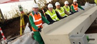 First busway beam laid in Dunstable (November 2011)