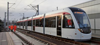 Edinburgh tram testing at Gogar (Dec 2011)