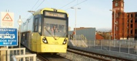 Test tram on Metrolink Oldham line
