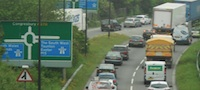traffic queues at M5 junction 21