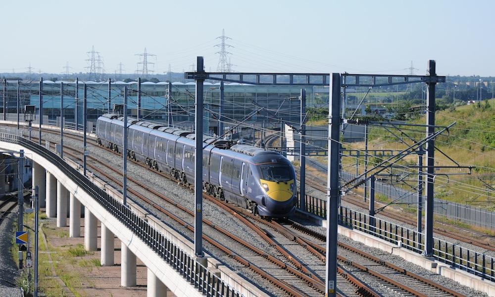 Southeastern train passes Ebbsfleet