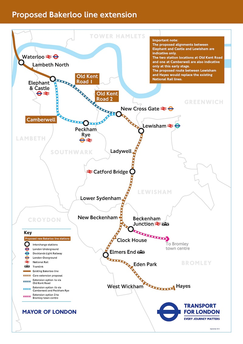 Bakerloo line extension options map