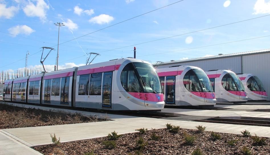 Midland Metro trams at Wednesbury depot