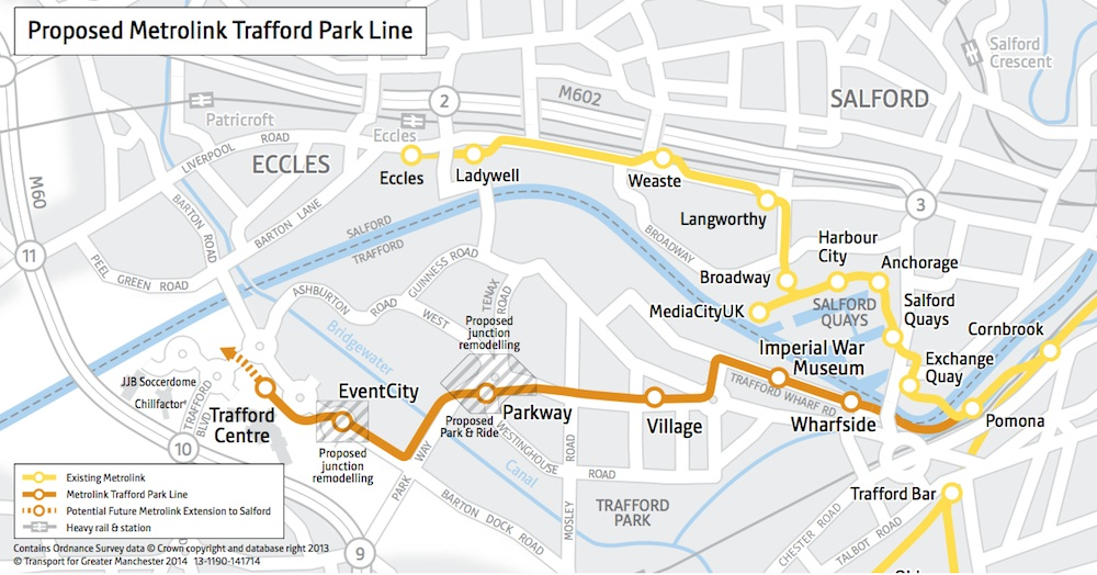 Metrolink Trafford Park map