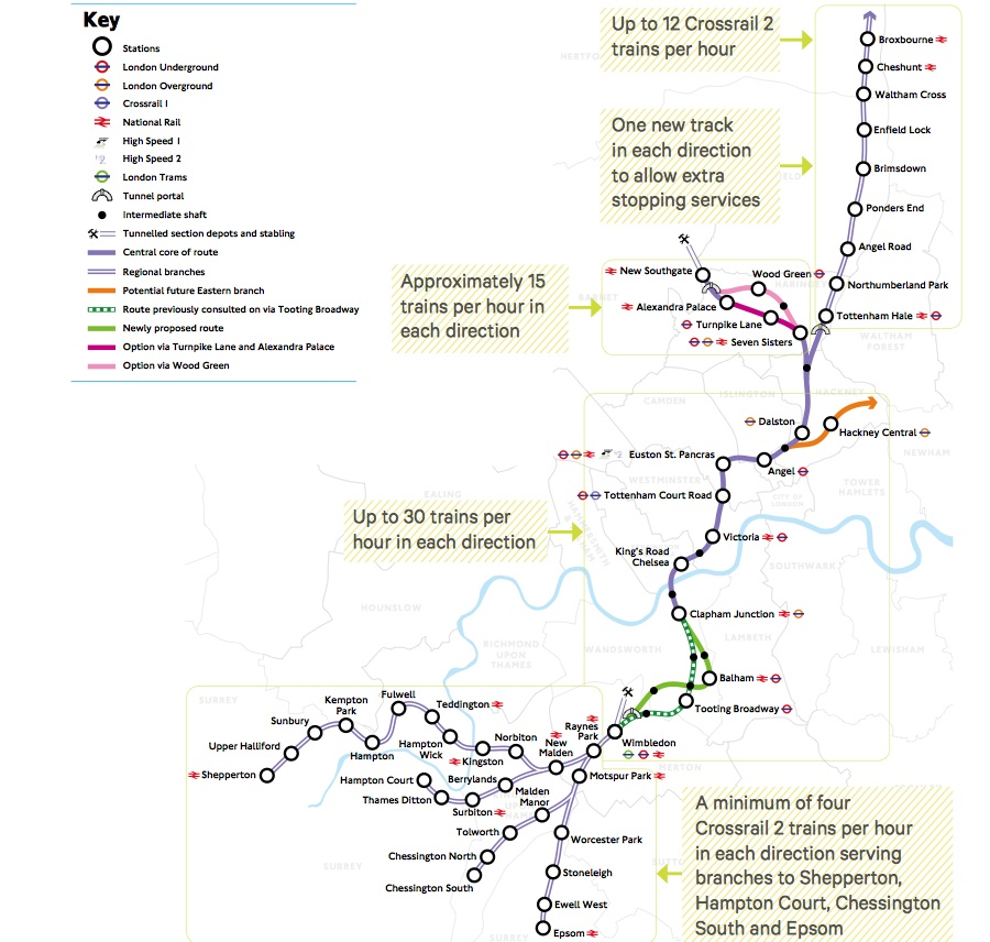 Crossrail 2 map (October 2015)