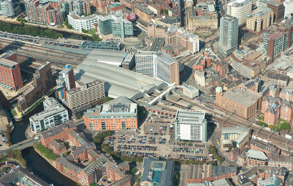 Leeds station aerial view
