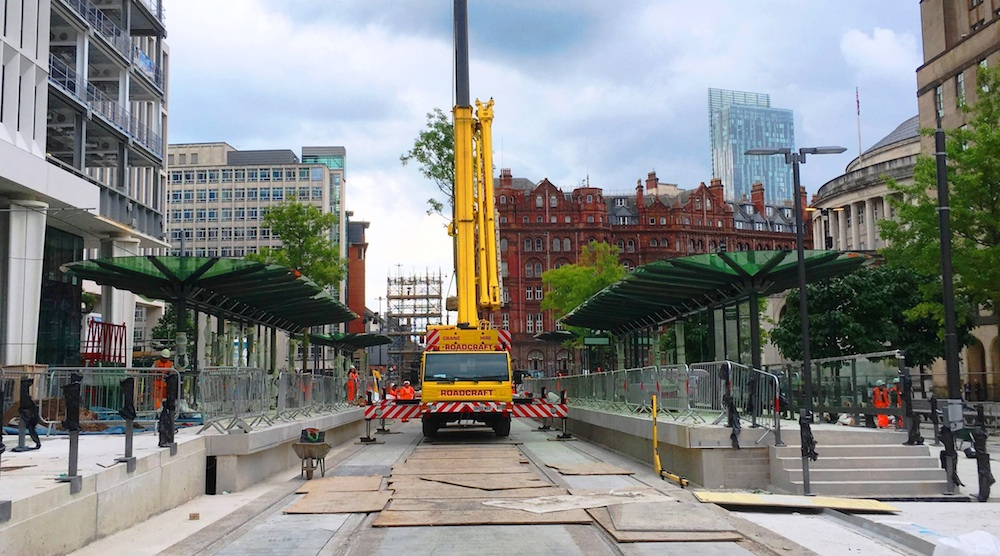 St Peters Square Metrolink stop during construction