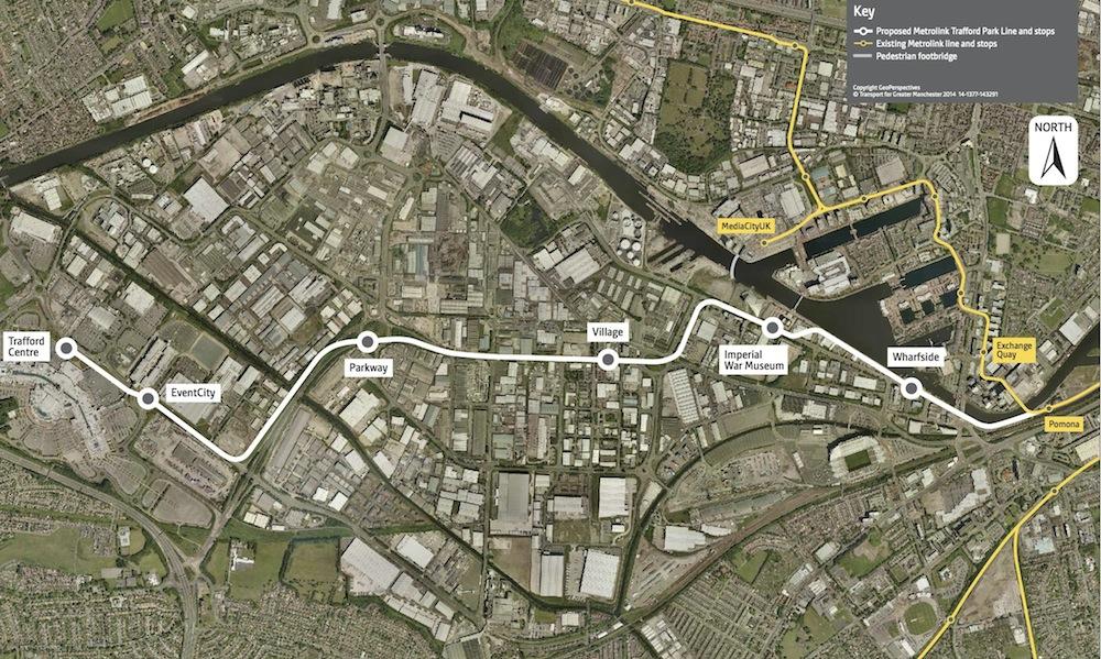 Metrolink Trafford Park map