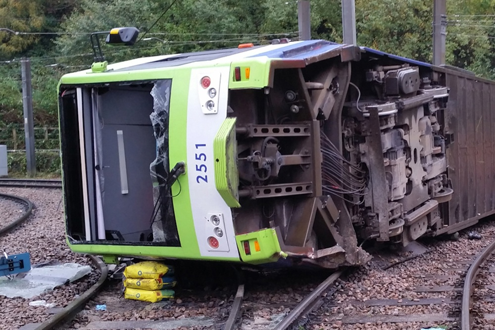 derailed tram at Sandilands Junction