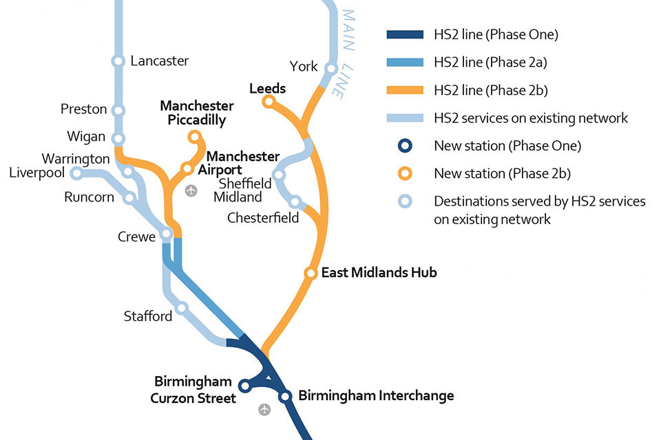 HS2 phase two map (July 2017)