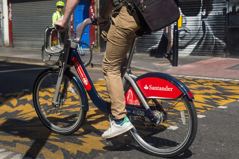 Santander cycle hire in Brixton