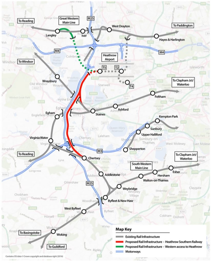 Heathrow Southern Railway map