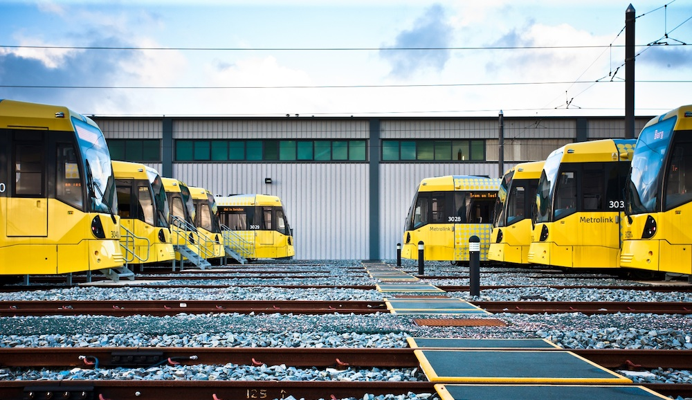 Metrolink trams at depot