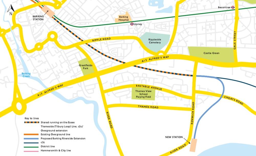 Barking Riverside extension map